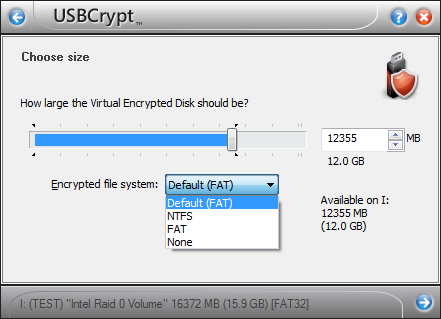 Selecting encrypted file system « USBCrypt