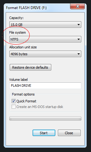 Options for formatting the external drive with NTFS file system