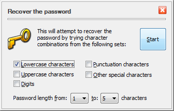 The settings for the Recover Password command of USBCrypt