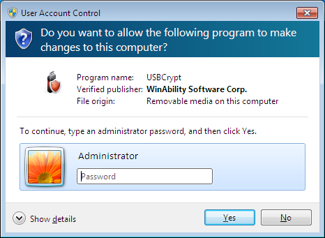 The admininstrator must give the permission to run USBCrypt off the attached drive